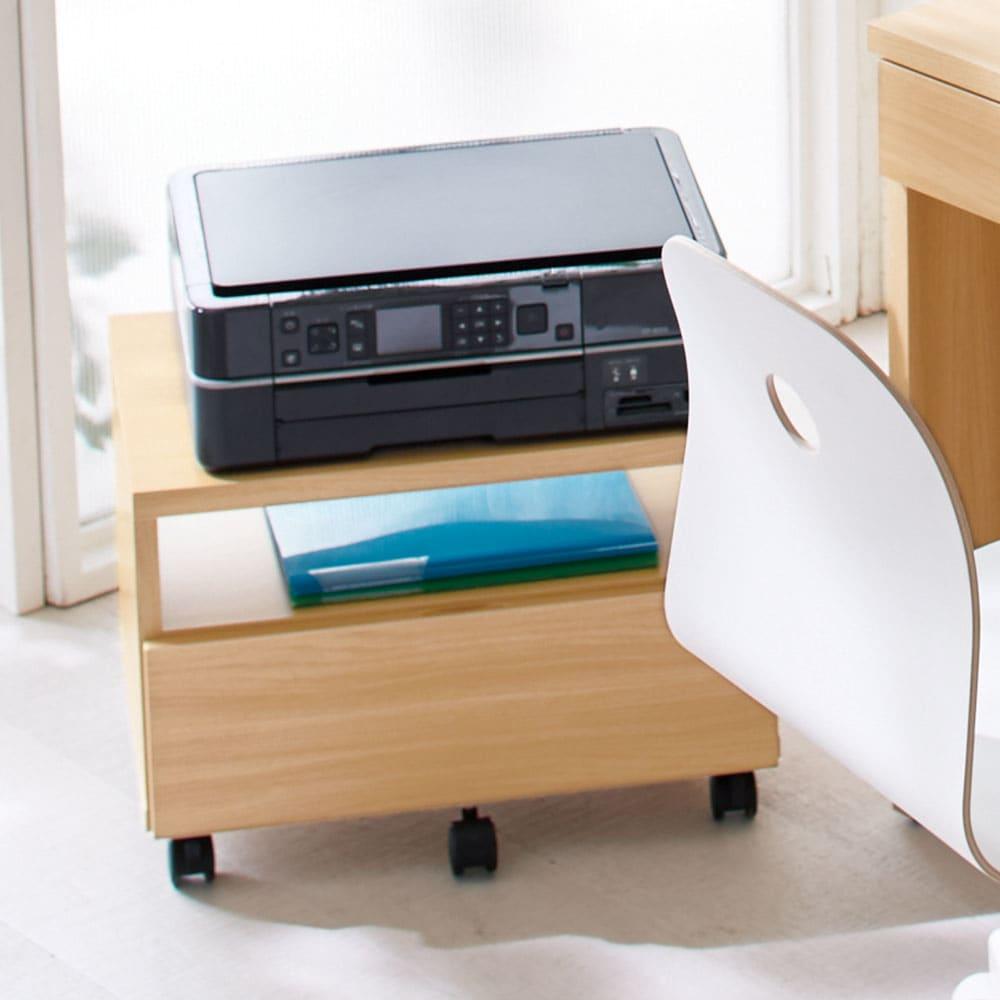 奥行4タイプ選べるデスクシリーズ プリンターワゴン幅53cm 使うときにさっと引き出して使えるキャスター付き。(イ)ナチュラル