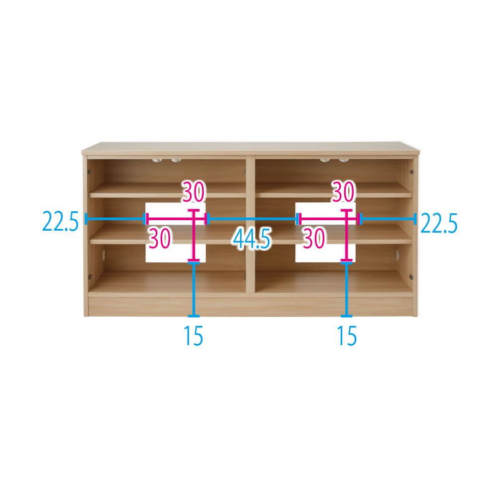 配線すっきり幅オーダーデスク キャビネット 幅60~150cm(1cm単位オーダー) (イ)ライトアッシュ ※扉を外した状態 ※赤文字は内寸、青文字は外寸(単位:cm) ※写真は幅150cm