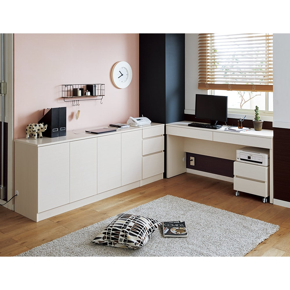 配線すっきり幅オーダーデスク デスク横チェスト 幅15~45cm(1cm単位オーダー) まるで造り付けのオフィス空間に、小物の分類収納に便利なチェストを。(カ)ホワイトシカモア
