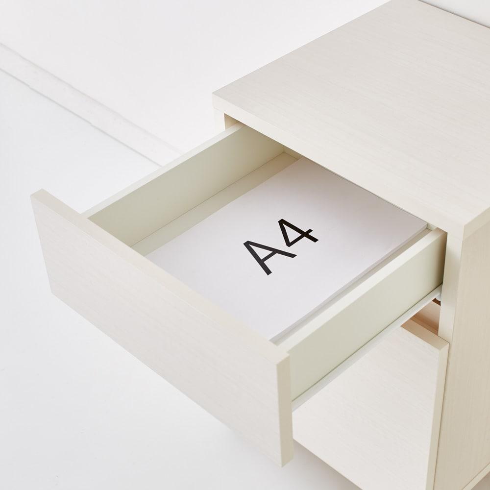 配線すっきり幅オーダーデスク デスク横チェスト 幅15~45cm(1cm単位オーダー) 引出はA4サイズが収納できます。レール付きで開閉スムーズ。内寸:幅35奥行34.5cm
