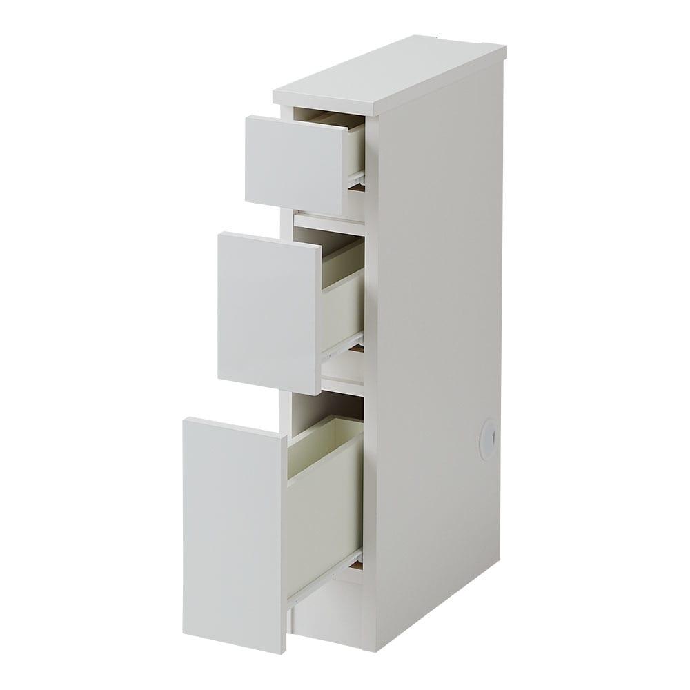 配線すっきり幅オーダーデスク デスク横チェスト 幅15~45cm(1cm単位オーダー) (ア)ホワイト