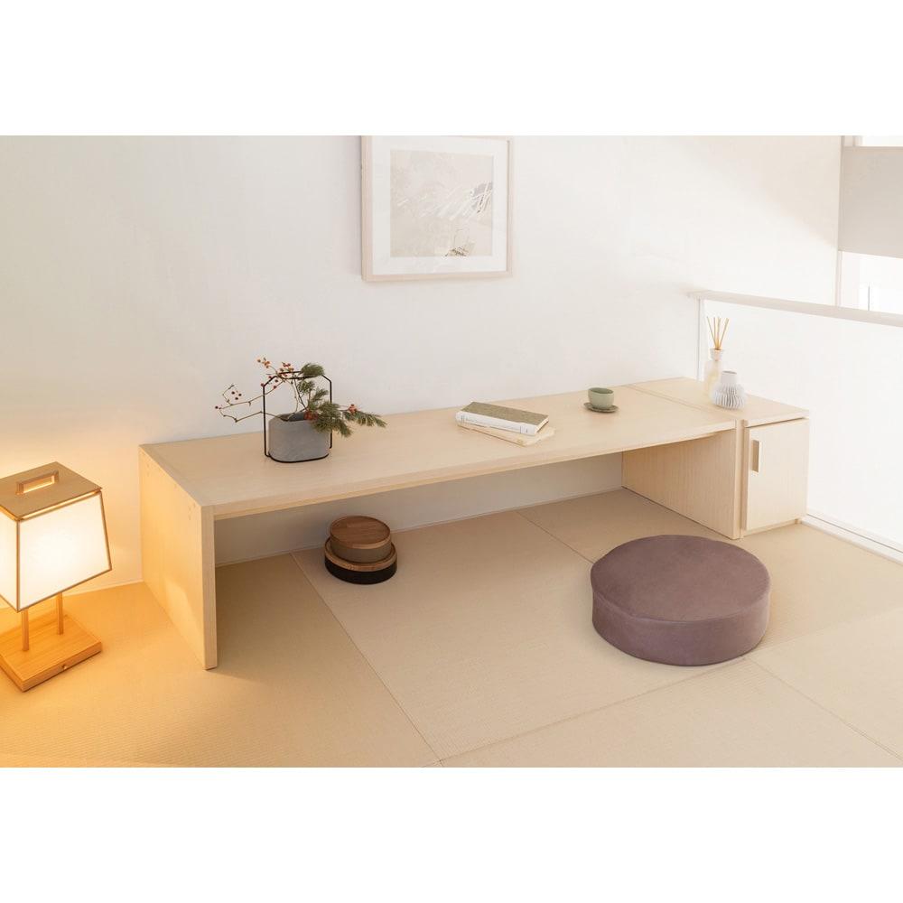 幅1cm刻みのサイズオーダーテーブル 幅60~180cm奥行30cm高さ50cm ライトナチュラル(写真は幅180cm奥行44.5cm高さ49.2cmです)