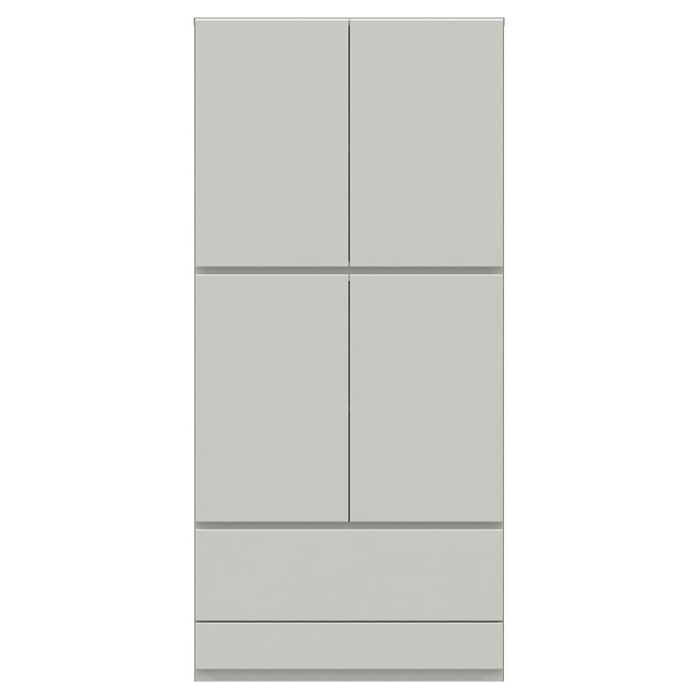【パモウナ社製】使いやすさを考えた美しいシステム収納 扉+引き出し収納庫 幅80cm (ア)パールホワイト