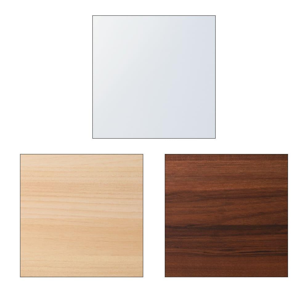 奥行34cm薄型なのに収納すっきり!スマート壁面収納シリーズ 収納庫 段違い棚タイプ 幅60cm 素材アップ:上(ア)ホワイト、左下(イ)ナチュラル、右下(ウ)ダークブラウン