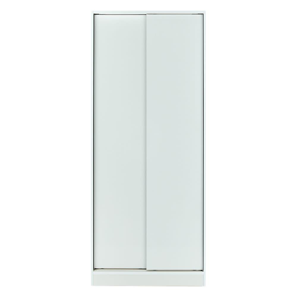 狭い場所でも収納たっぷり引き戸壁面収納シリーズ 収納庫 段違い棚タイプ 幅75cm (ア)ホワイト