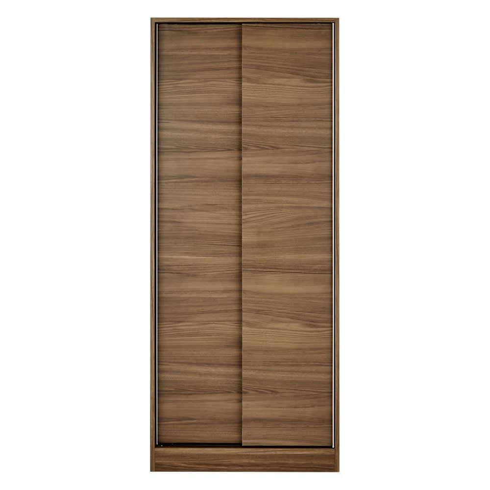 狭い場所でも収納たっぷり引き戸壁面収納シリーズ 収納庫 段違い棚タイプ 幅75cm (ウ)ダークブラウン
