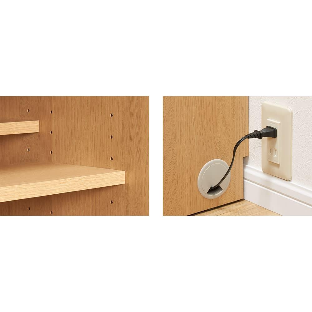 狭い場所でも収納たっぷり引き戸壁面収納シリーズ 収納庫 ミラー扉タイプ 幅90cm (左)高さ調節できる棚板。収納物に合わせて3cm間隔で高さ調節可能。(右)壁付けしやすい。幅木カットと配線穴で、壁にぴったり設置。