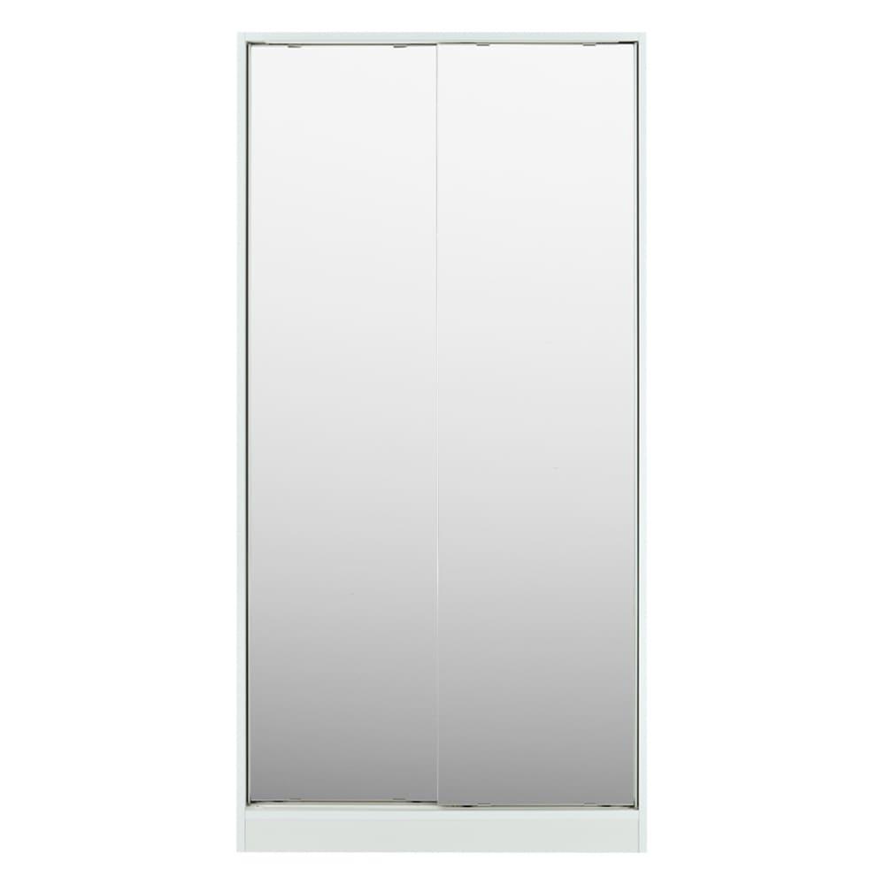 狭い場所でも収納たっぷり引き戸壁面収納シリーズ 収納庫 ミラー扉タイプ 幅90cm (ア)ホワイト