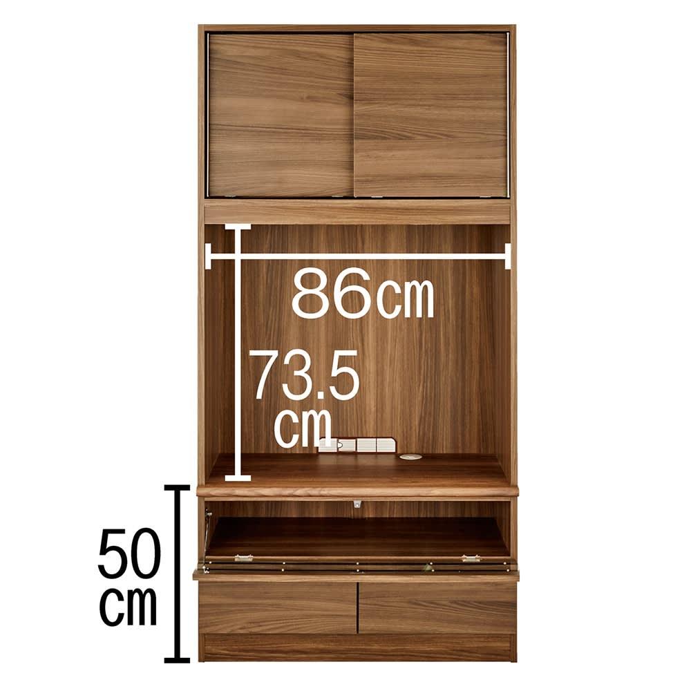 狭い場所でも収納たっぷり引き戸壁面収納シリーズ テレビ台 幅90.5cm デッキ収納部(有効内寸)は、 幅86cm 奥行42.5cm 高さ16.3cm