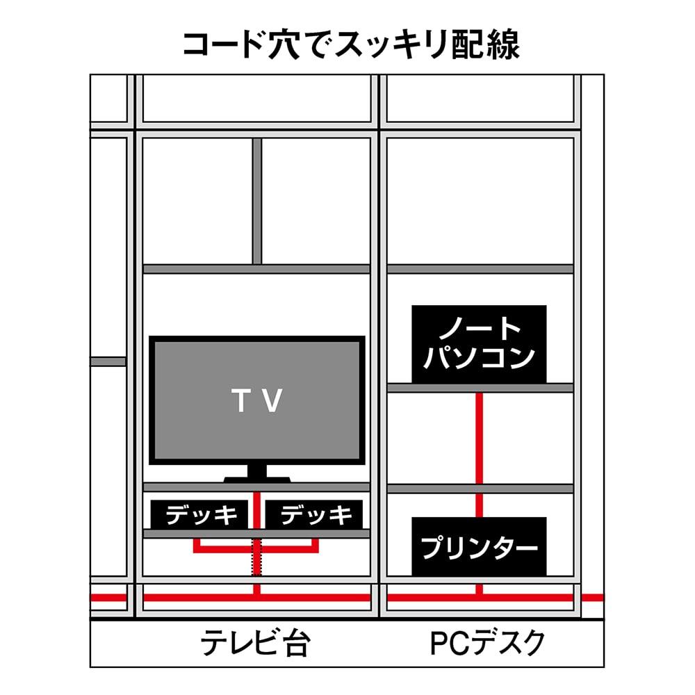狭い場所でも収納たっぷり引き戸壁面収納シリーズ テレビ台 幅120.5cm 配線は側面コード穴から内部を通せるので、設置後のセッティングや並び変えも簡単・手軽に行えます。