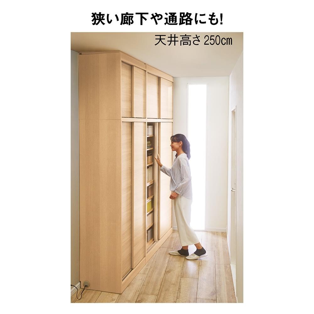 高さオーダー対応突っ張り式引き戸上置き(1cm単位) 上置き ミラー扉 幅75高さ26~90cm 開閉スペース不要だから、狭い場所でも活躍。 ※使用イメージ(写真はミラー扉ではありません)