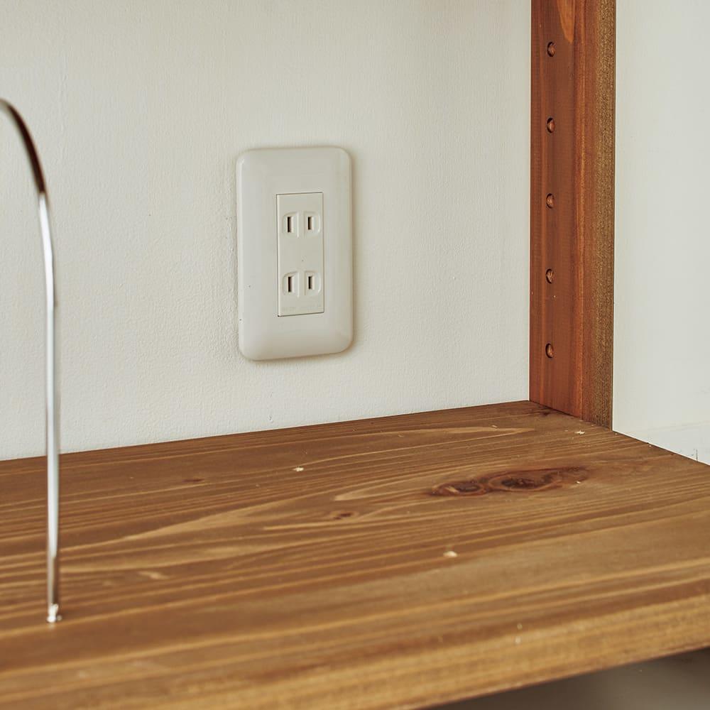 国産杉頑丈ディスプレイ本棚(ヴィンテージ風ラック) オープンタイプ・幅80cm高さ179cm 背板がなく、コンセントやスイッチを潰しません。