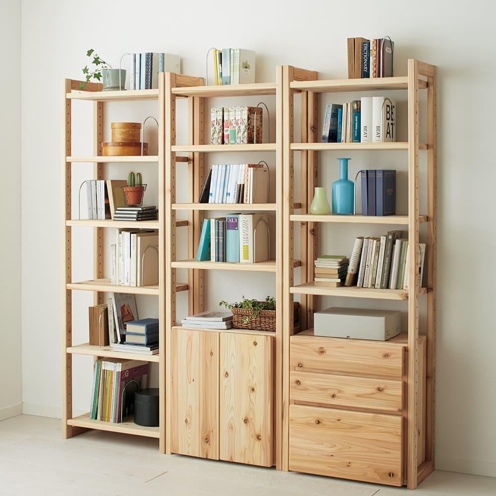 国産杉頑丈ディスプレイ本棚(ヴィンテージ風ラック) オープンタイプ・幅80cm高さ179cm 北欧風家具ともマッチします。(ア)ナチュラル