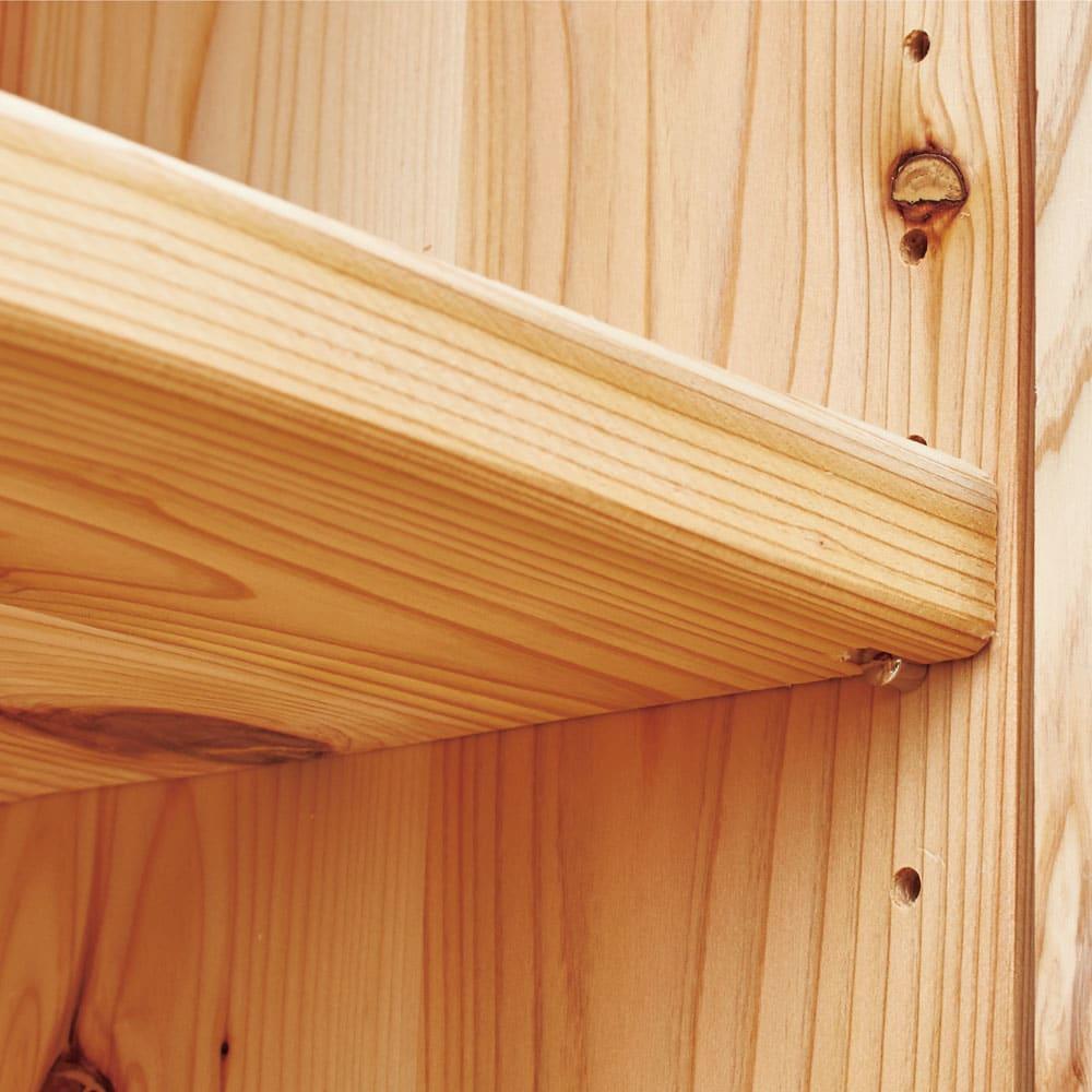 国産杉頑丈ディスプレイ本棚(ヴィンテージ風ラック) オープンタイプ・幅100cm高さ179cm 【棚板は可動式】オープン部と扉内の棚板は4.5cmピッチで高さ調節できます。