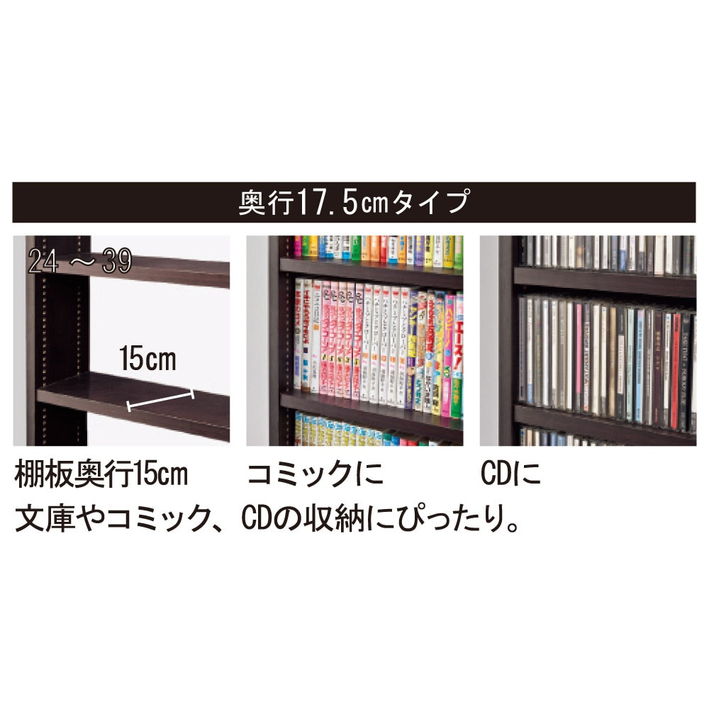 コミックが大量収納できる高さサイズオーダー対応頑丈突っ張り壁面収納本棚 奥行17.5cmタイプ 幅25~50本体高さ207~259cm(対応天井高さ208~260cm) 【奥行17.5cmタイプ】 文庫やコミック、CDの収納にぴったり。