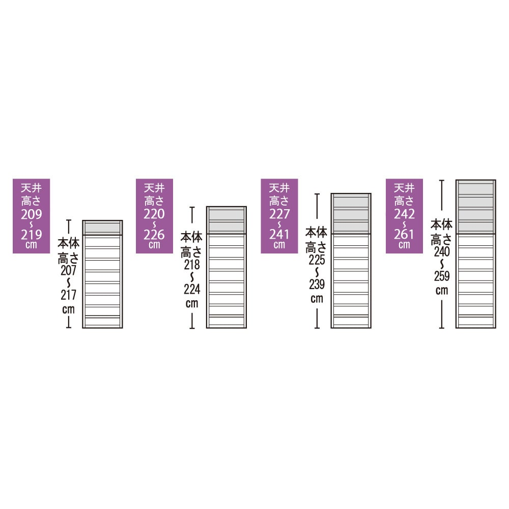 A4サイズがぴったり収まる高さサイズオーダー対応壁面収納ラック 奥行29.5cmタイプ 幅60本体高さ207~259cm(対応天井高さ208~260cm)