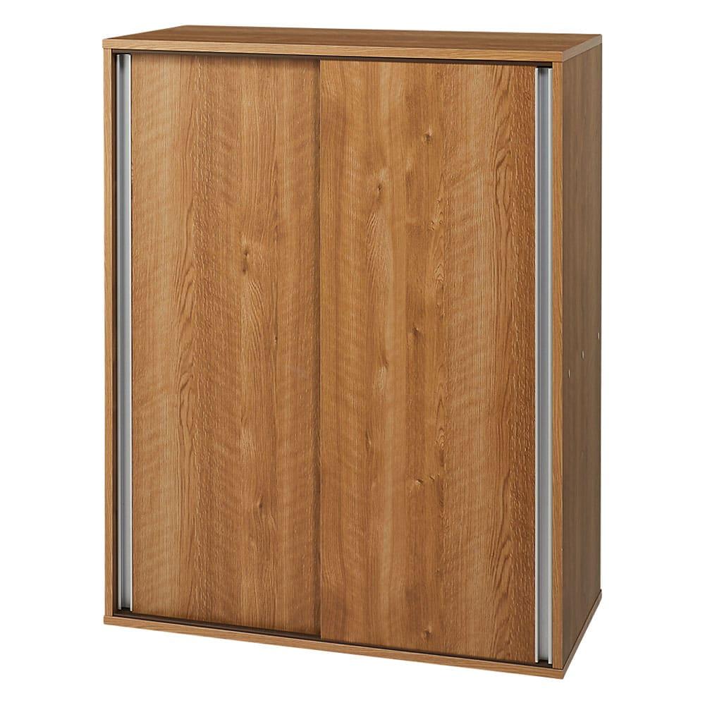 大量収納が自慢の引き戸式本棚 幅90本体高さ114cm 奥行40cm (ア)ブラウン