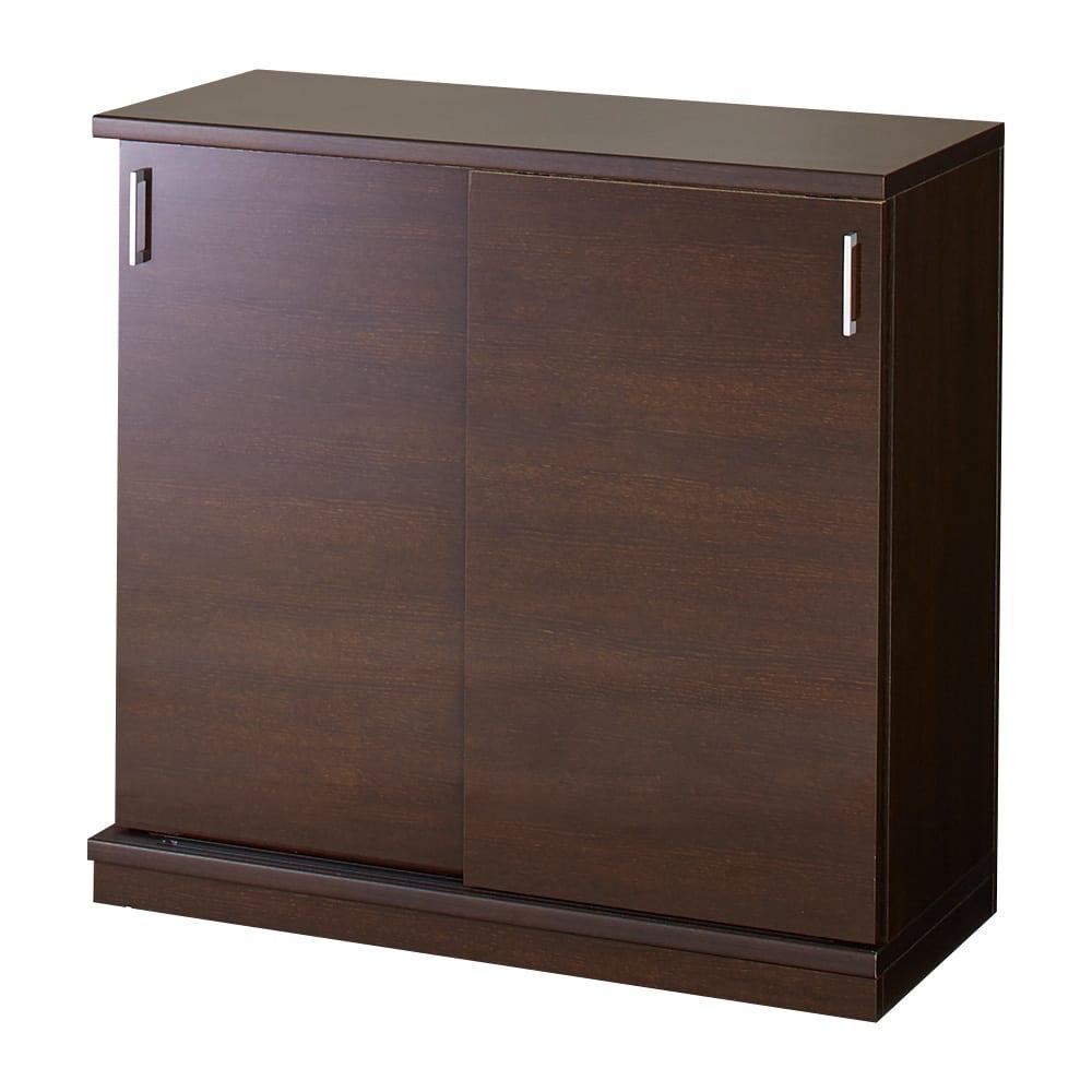 隠しキャスター付き前後段違い光沢本棚 引き戸タイプ 幅59cm (イ)ダークブラウン ※写真は幅88cmタイプです。
