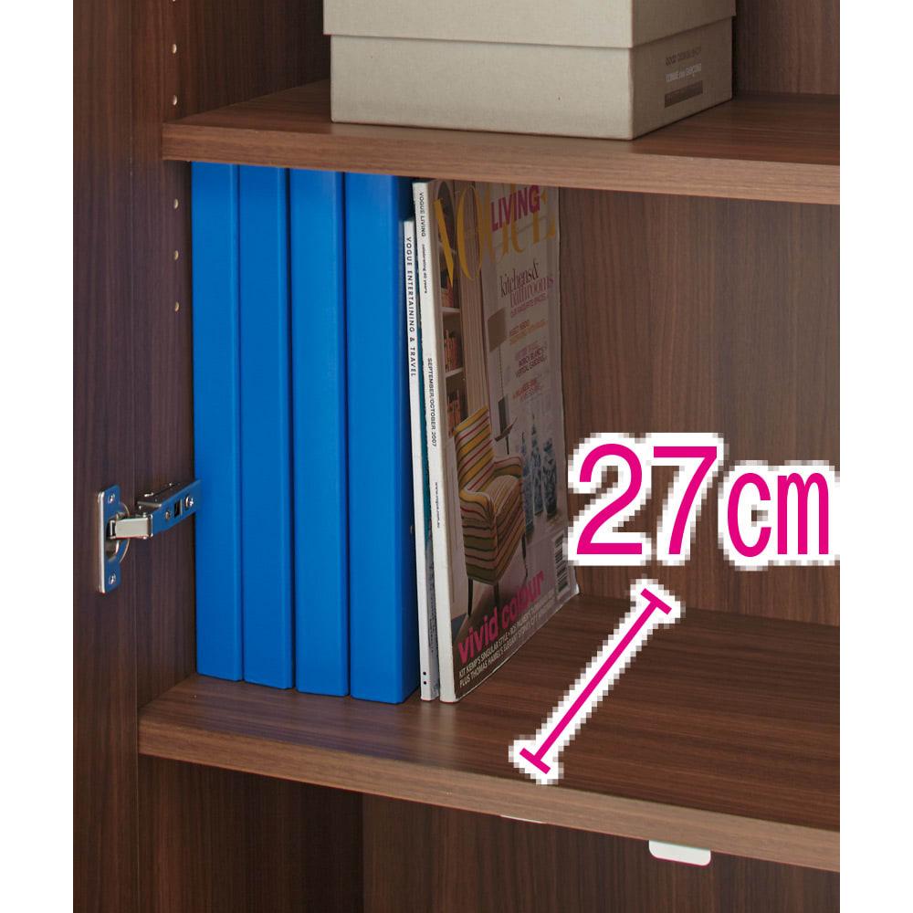 鍵付き本棚ハイタイプ 幅60奥行35高さ180cm 奥行35cmタイプはA4対応。ハードファイルや雑誌を収納できます。