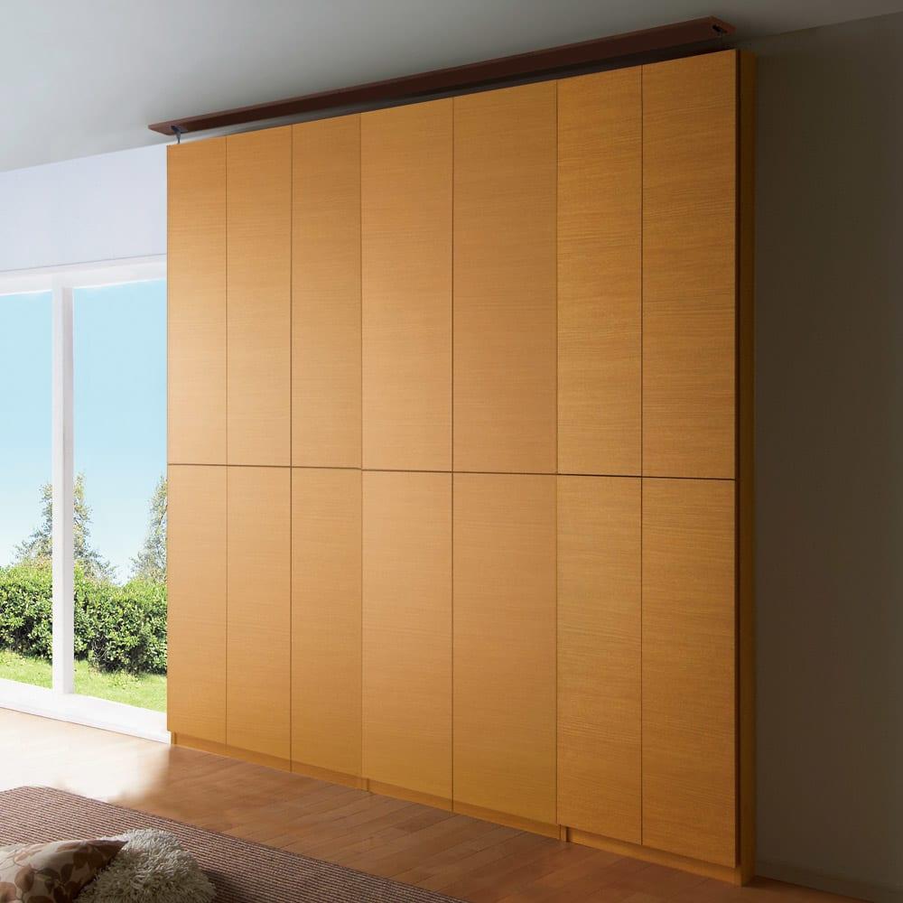 【幅60cm】 突っ張り壁面収納本棚 (奥行35cm本体高さ230cm) ≪組合せ例≫ ※写真は(左から)幅100cm、幅80cm、幅60cmタイプです。