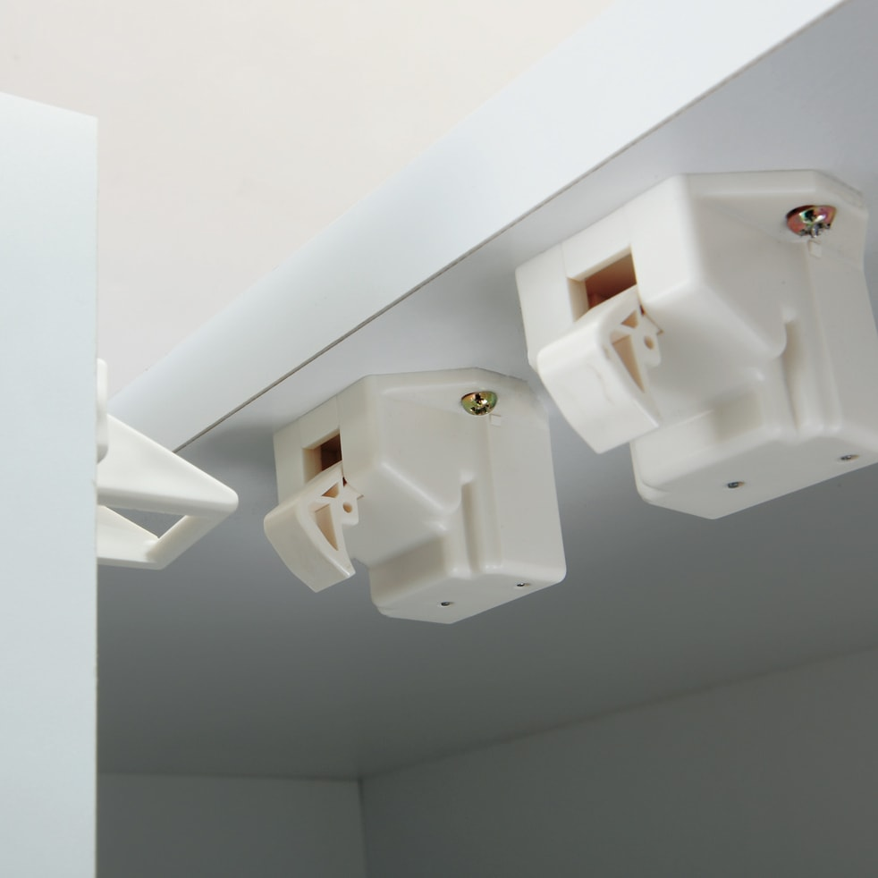 【幅80cm】 突っ張り壁面収納本棚 (奥行35cm本体高さ230cm) 地震の揺れを感知したら扉をロック。収納物の飛び出しを防ぎます。