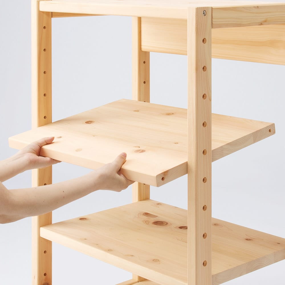 国産檜オープンラック 幅60高さ89cm 棚板は6cm刻みで高さ調節が可能。
