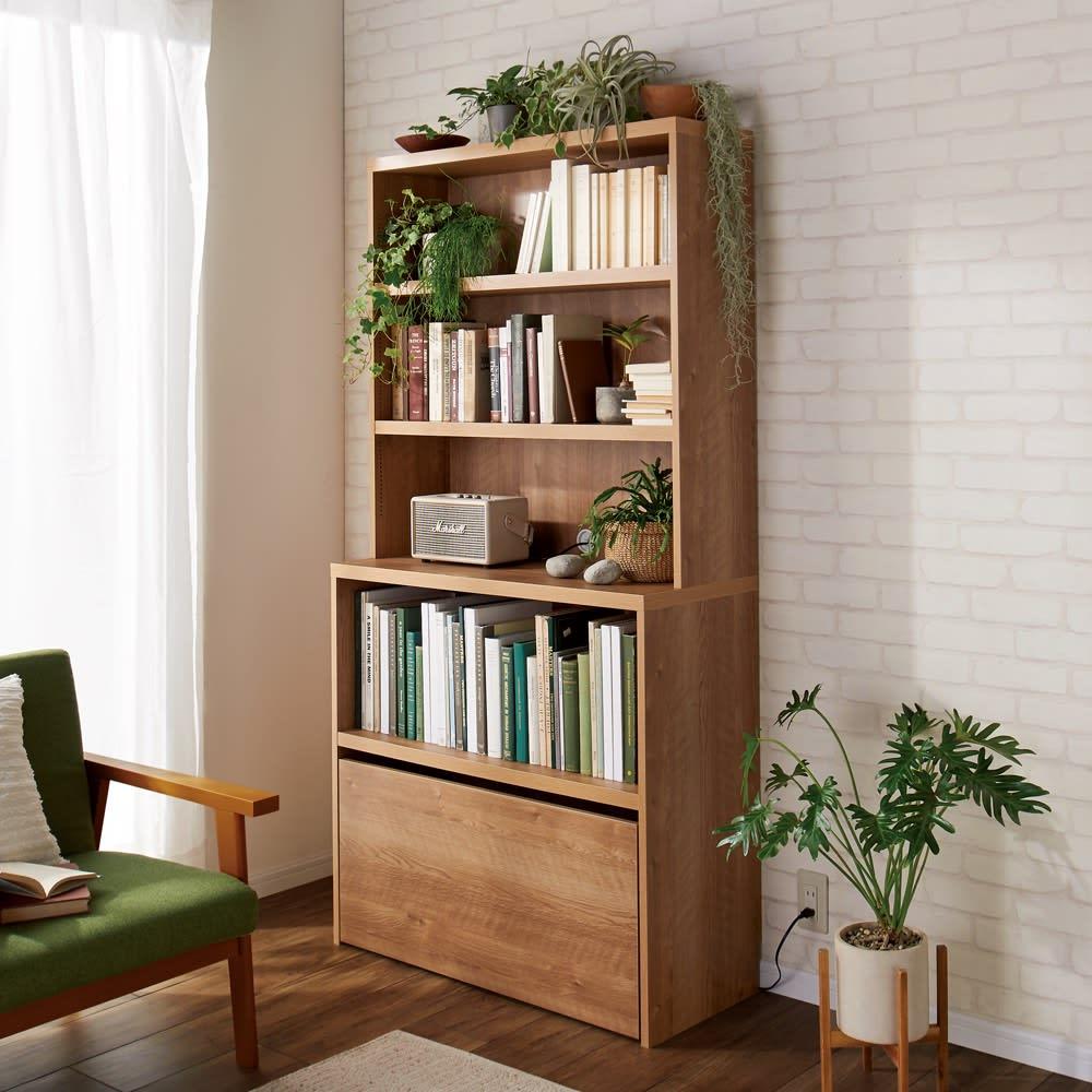 ライブラリーブックシェルフ 書棚 幅60cm 高さ179cm (ア)ブラウン ※写真は幅90cmタイプです。