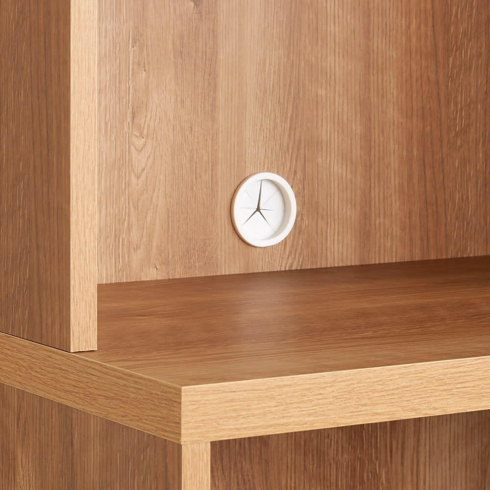 ライブラリーブックシェルフ 書棚 幅60cm 高さ179cm コード穴付きで、小型家電も置けます。