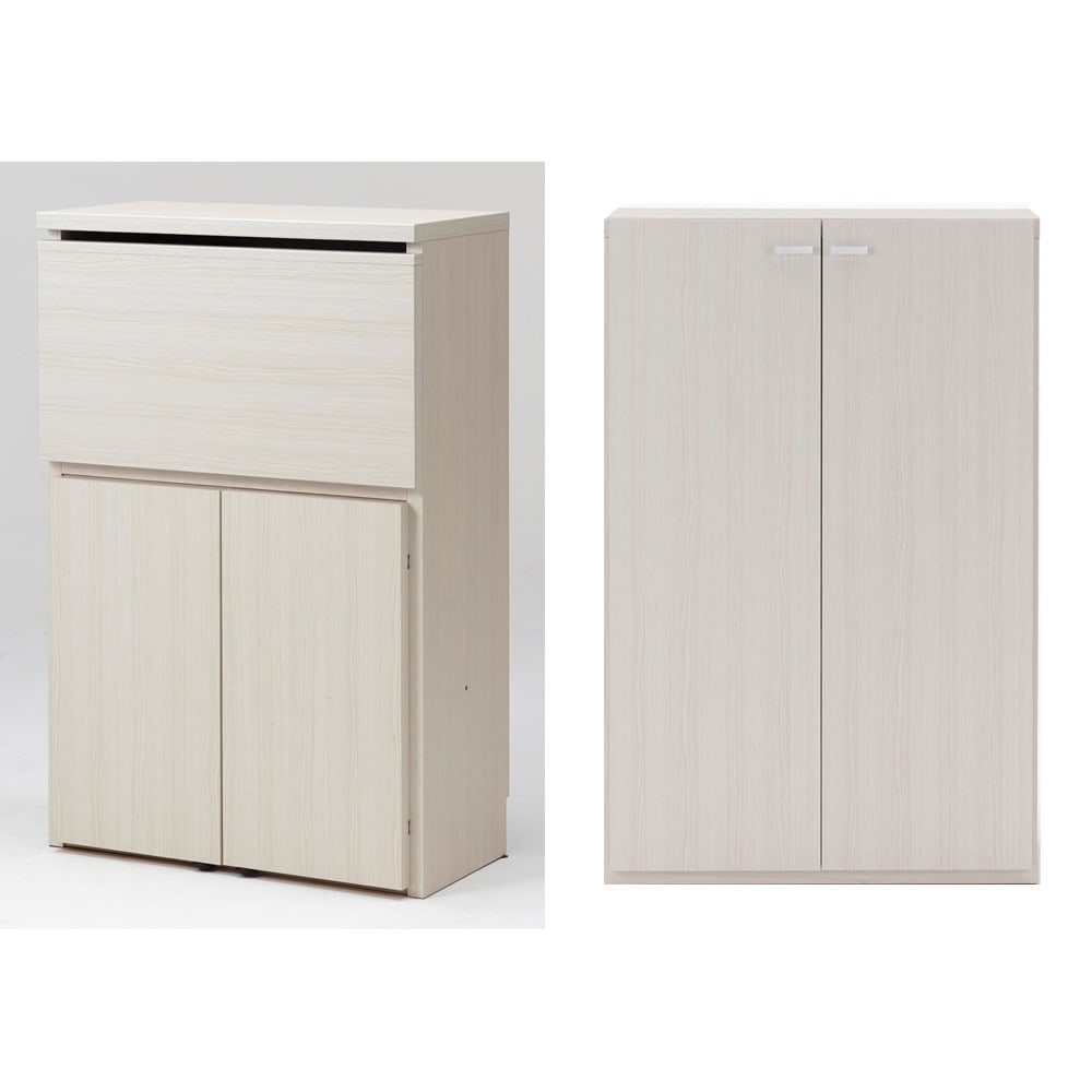 重厚感のあるがっちりデスクと扉が選べる本棚上下セット+天井突っ張り金具 デスク+本棚板扉(イ)ホワイト(木目)