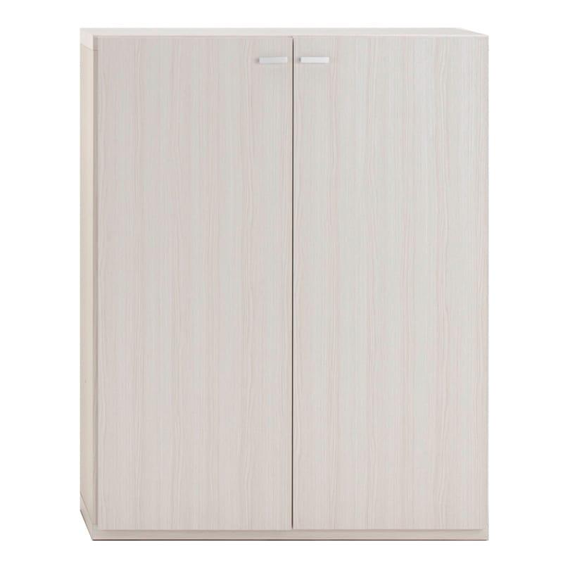 重厚感のあるがっちり本棚 板扉上下セット高さ228cm+天井突っ張り金具 板扉 幅90cm(イ)ホワイト(木目)