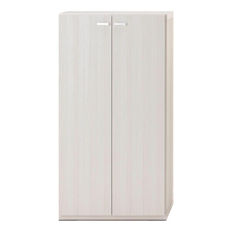 重厚感のあるがっちり本棚 板扉上下セット高さ228cm+天井突っ張り金具 板扉 幅60cm(イ)ホワイト(木目)