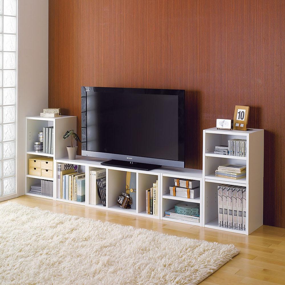 【お得な6個セット】組み合わせ自在なシステムボックス (ア)ホワイト テレビ台としても。