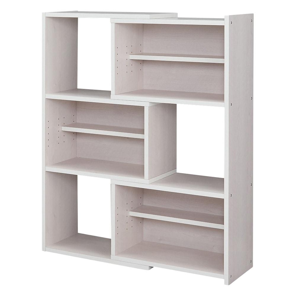 天然木調 伸縮式ブックシェルフ 3段・幅60~93cm (ウ)ホワイト