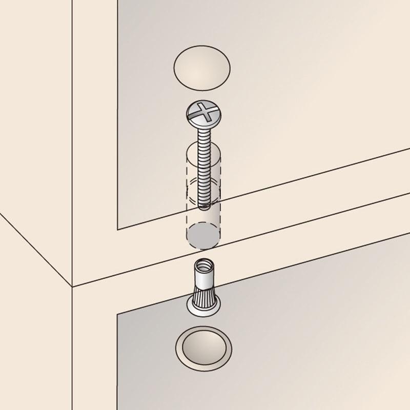 頑丈棚板引き戸本棚 奥行31.5cm(幅75.5/幅89.5cm) 【壁面収納】 上置き(別売り)と本体はジョイントネジでしっかり固定。