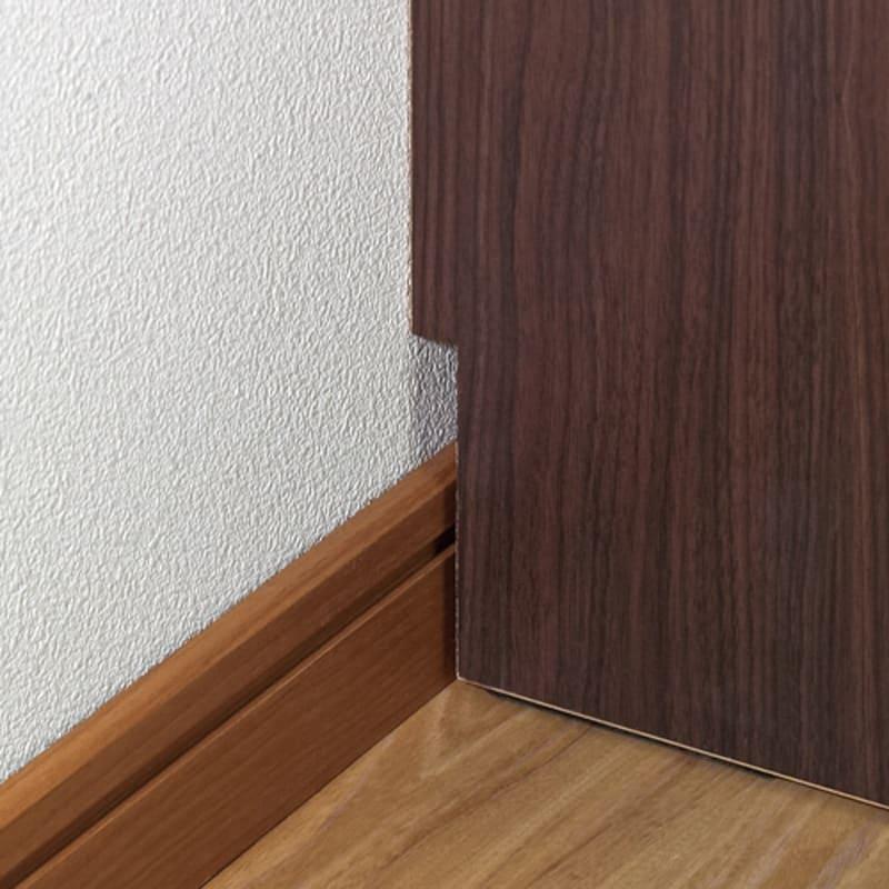 頑丈棚板引き戸本棚 奥行44cm(幅75.5/幅89.5cm) 【壁面収納】 幅木対応(7.5×1.5cm)で壁にぴったり設置可能。