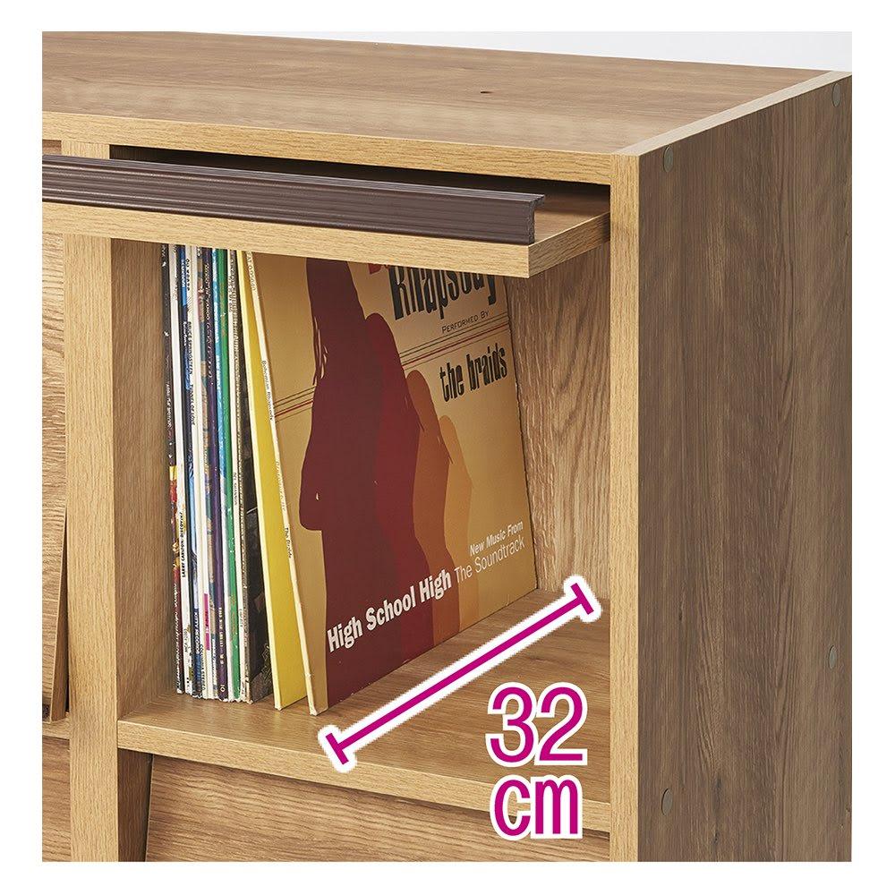 ヴィンテージウッド調 マガジン&レコードキャビネット ベース 扉タイプ 2段3列[幅113cm奥行39cm高さ85cm] LPレコードや大型書籍も入る奥行の内寸32cm。