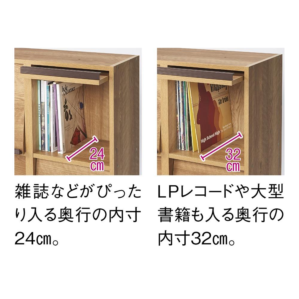 ヴィンテージウッド調 マガジン&レコードキャビネット ベース CDプラス扉タイプ 3段3列[幅113cm奥行39cm高さ85cm] 同シリーズは奥行29.5cmと奥行39cmの2タイプがあります。