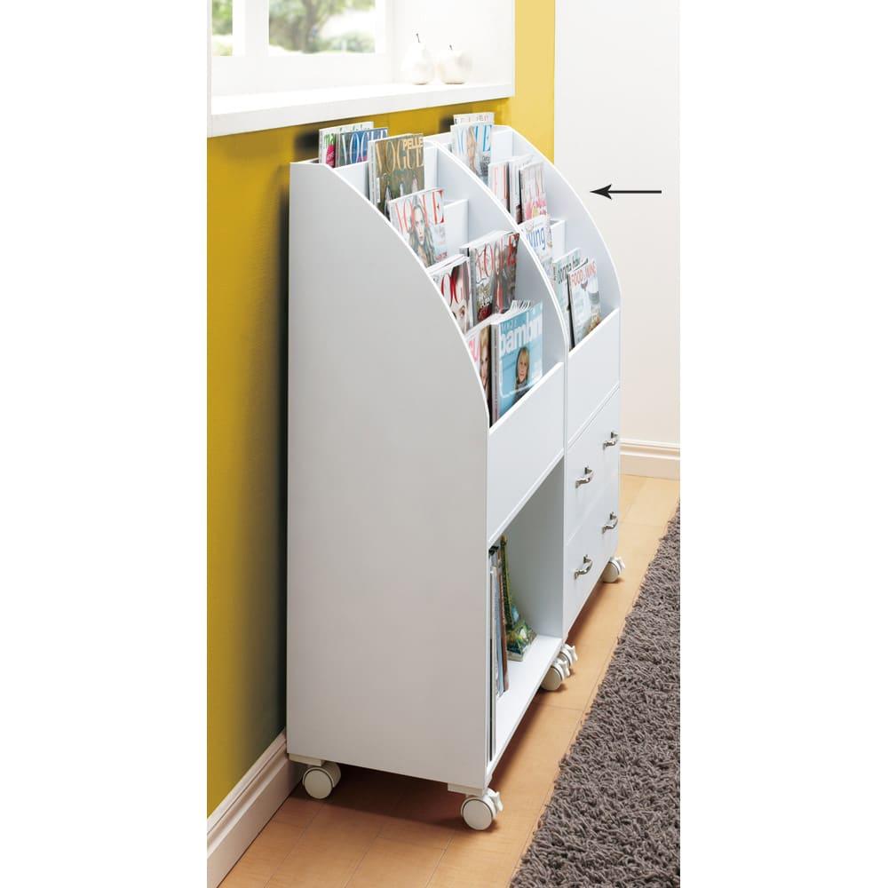 キャスター付きマガジンラック 引き出しタイプ 高さ94cm (イ)ホワイト 奥行は30cm ※写真は高さ94cmオープンタイプとの組合せ例です。