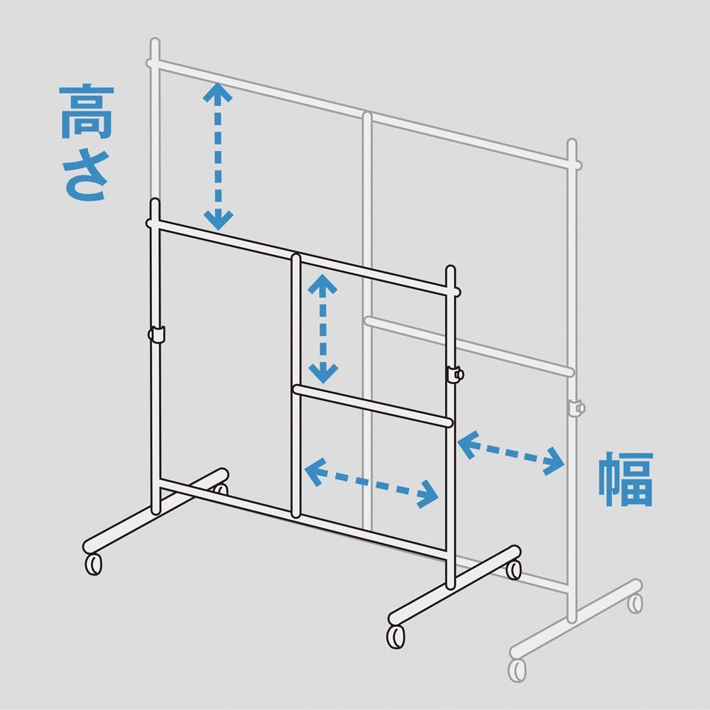 幅と高さが変えられるプロ仕様頑丈ハンガー 上下2段掛け付き シングルタイプ・幅122~152cm 高さの調節も、もちろん可能。ロングコートも余裕です。