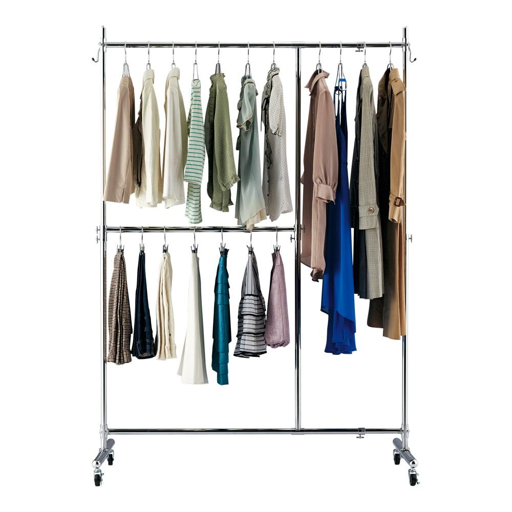 幅と高さが変えられるプロ仕様頑丈ハンガー 上下2段掛け付き ダブルタイプ・幅122~152cm 衣類に合わせて自在に変化 (1)パンツとジャケットが多い場合