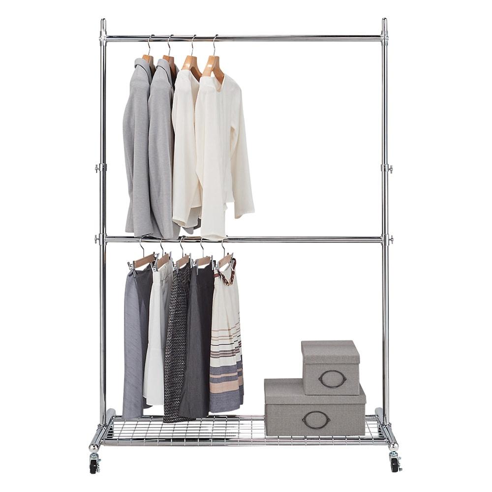 プロ仕様 上下2段頑丈ハンガーラック 幅57cm 上下2段掛けで使えば服が選びやすく、出し入れがスムーズに行えます。※写真は幅147cmタイプです。