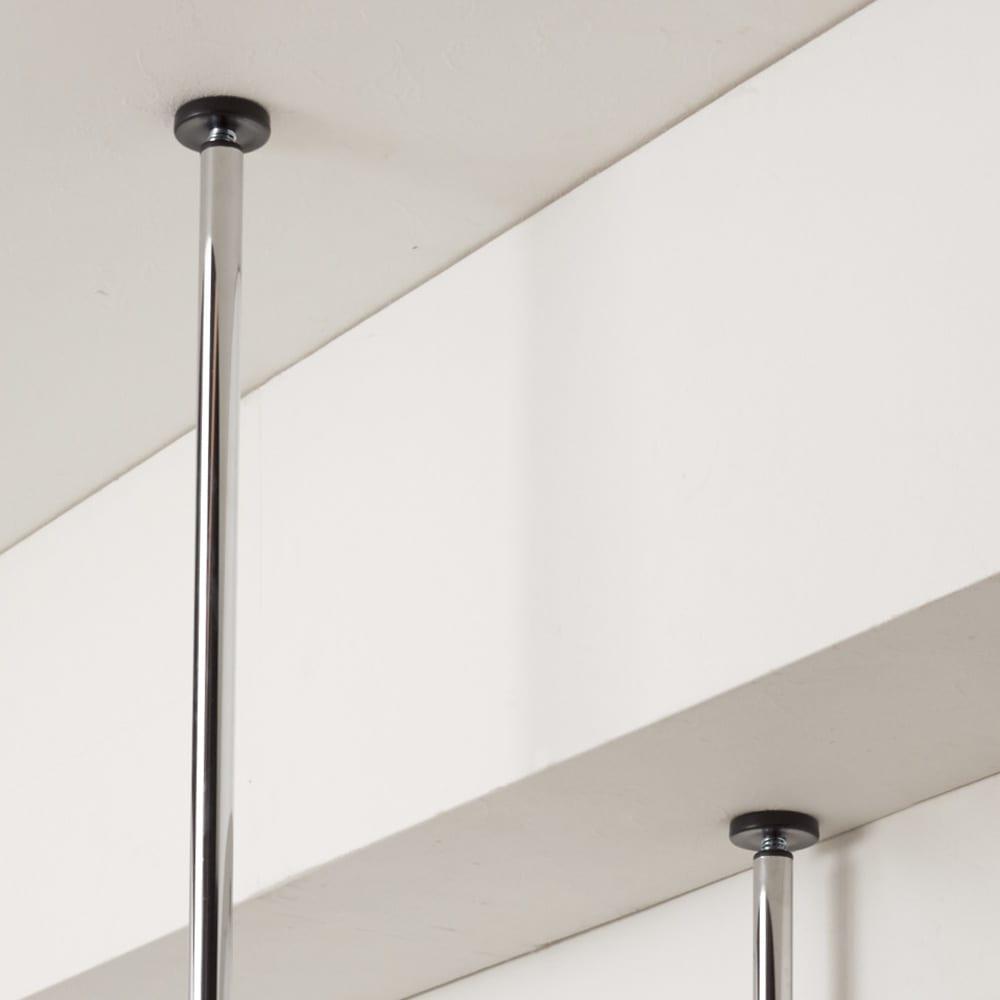 ウォークイン突っ張りハンガー 幅111~200cm・ハイタイプ(高さ218~280cm)・カーテンなし 【突っ張り式だから「梁」もOK】天井に突っ張るパイプは4本別々に伸縮するので複雑な梁にも対応します。