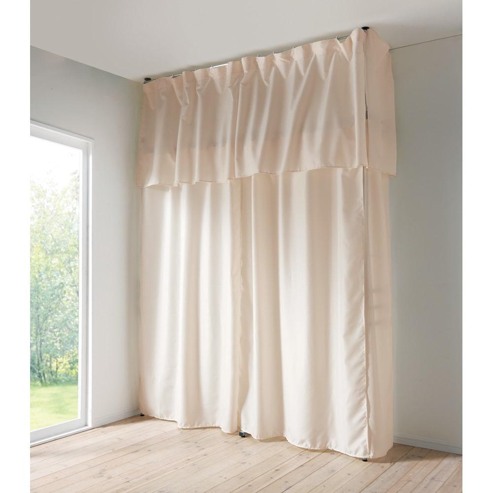 ウォークイン突っ張りハンガー用サイドカーテン (ロータイプ用) サイドカーテンを使えば側面も隠せます。