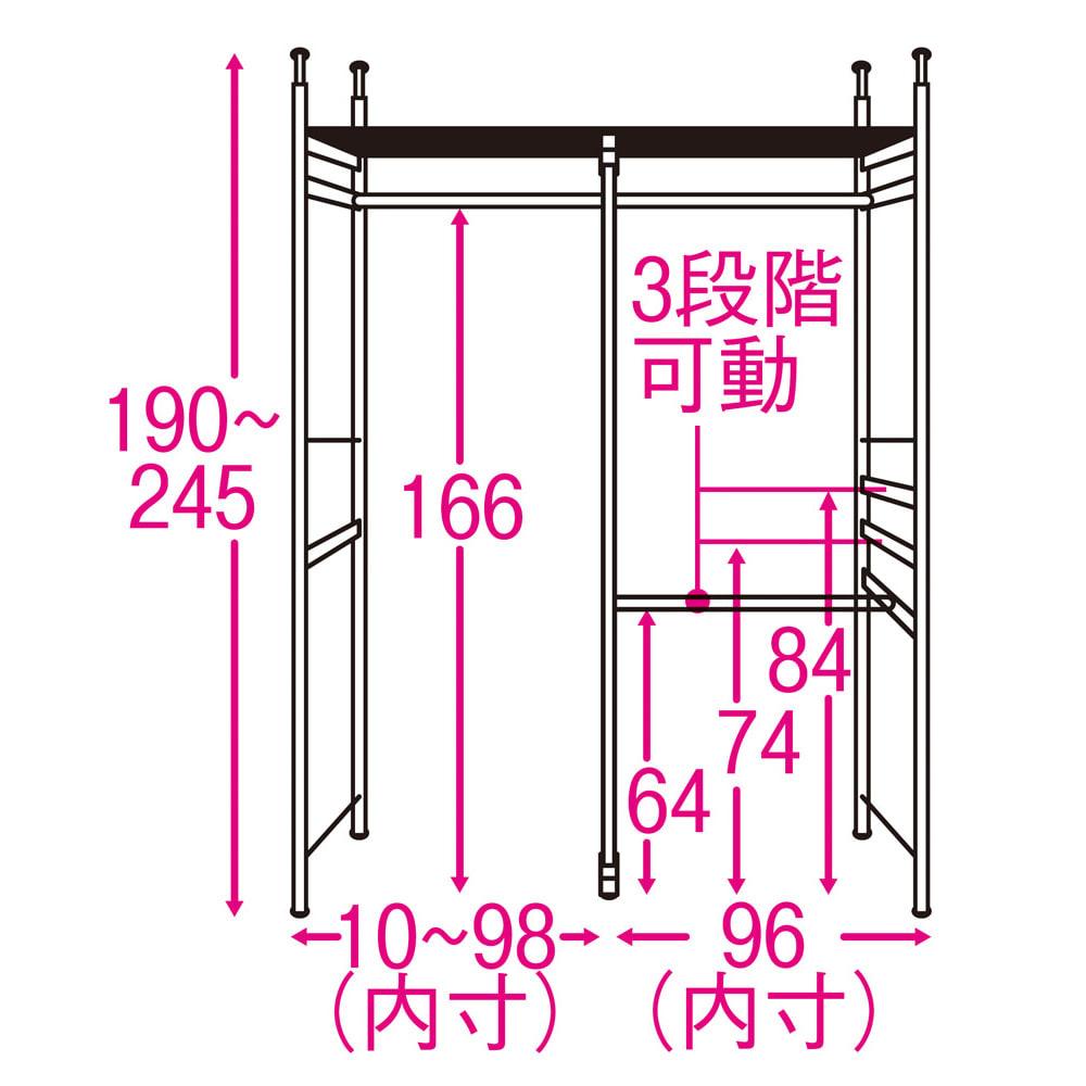 奥行30cm 光沢ブラッククローゼットハンガーラック ロータイプ・幅111~200cm 内部の構造図(単位:cm) ※3段掛け部は左右どちらにも設定可能。