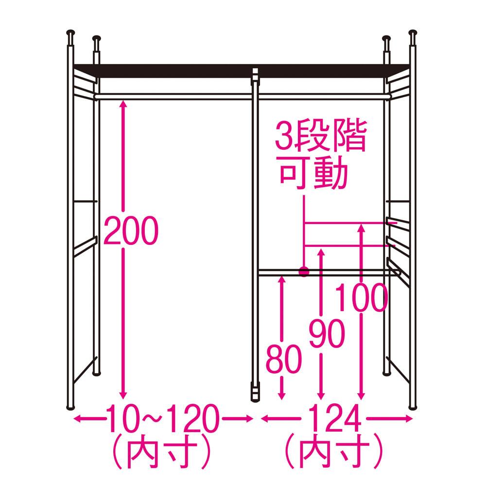 奥行30cm 光沢ブラッククローゼットハンガーラック ハイタイプ・幅140~250cm 内部の構造図(単位:cm) ※3段掛け部は左右どちらにも設定可能。