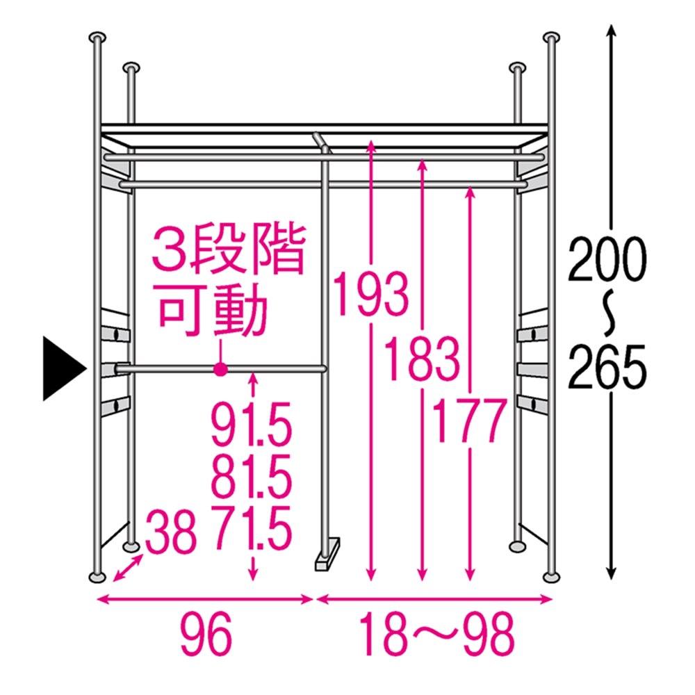 設置スペース奥行を抑えた薄型大容量頑丈ダブルハンガー ロータイプ 幅120~200cm 内部の構造図(単位:cm) ※赤文字は内寸 黒文字は外寸(単位:cm)※▲は下段ハンガーバーです。10cm間隔で3段階調節できます。左右どちらにも設置可能です。