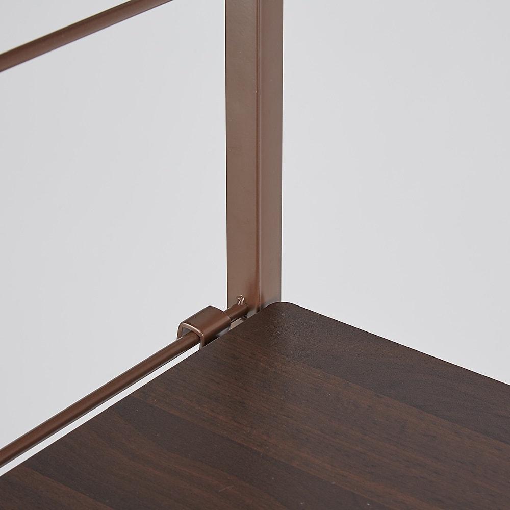 【幅122cm】棚・バスケット収納付きハンガーラック  (イ)ダークブラウン