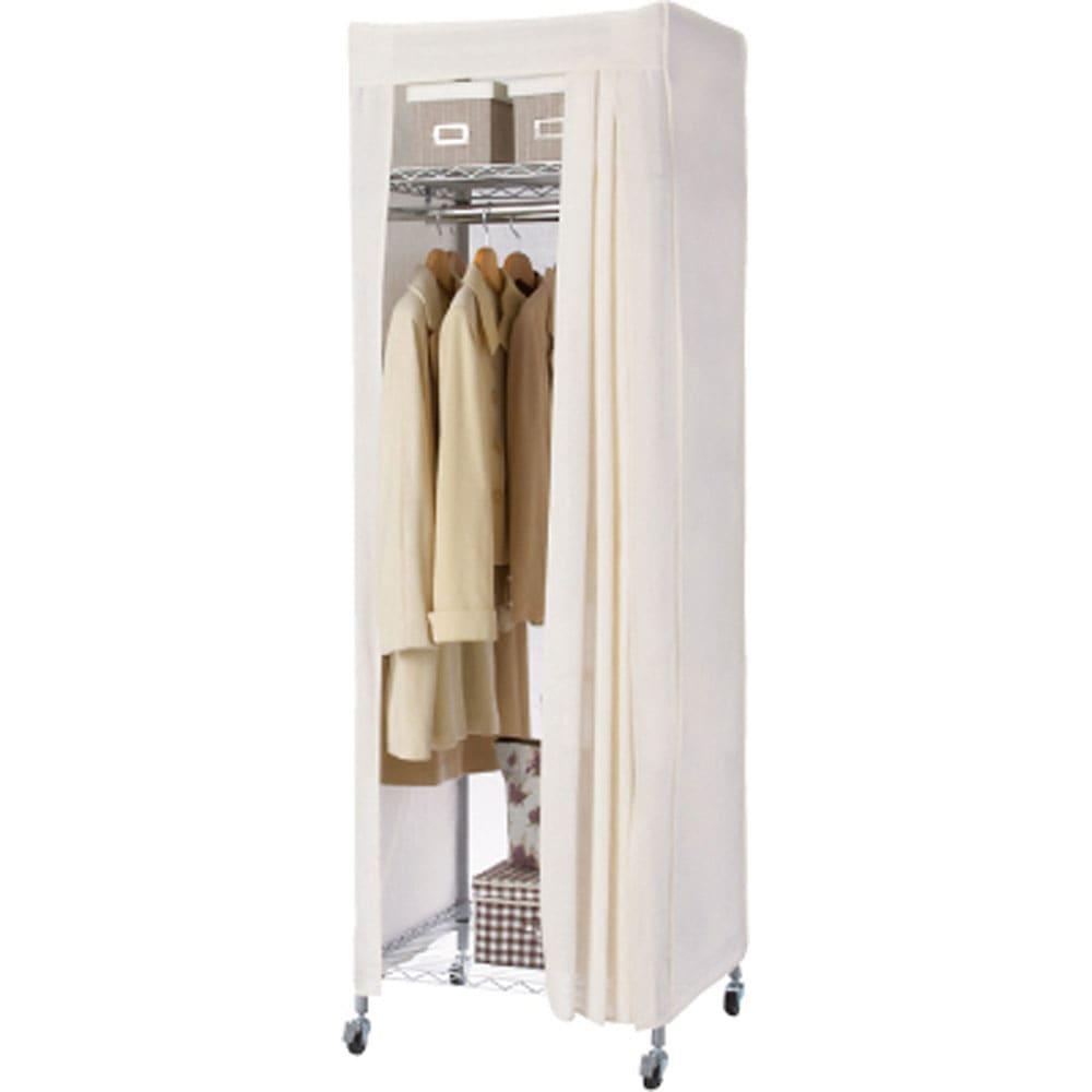 洗えるカバー付き 頑丈ハンガーラック ロータイプ・幅61cm 棚の位置を高めに設定すればロング丈のコートも余裕で掛けられます。