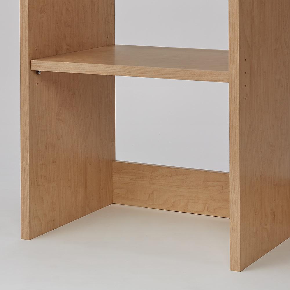 ウォークインオープンワードローブ ハンガータイプ 幅60cm 棚板を下段に設置する場合は3cm間隔4段階で設置可能
