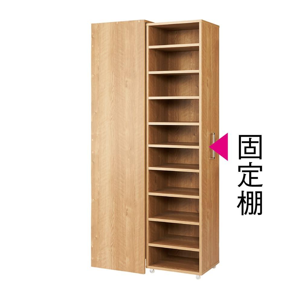 薄型で隠せる収納 衣類収納ロッカー 棚タイプ (ア)ブラウン 棚板は外しても使えます。
